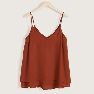 🆕Addition elle silky v neck camisole in color rusty size 1X  nwt